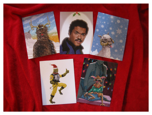 Star Wars Christmas Cards // by PJ McQuade  These festive cards from a galaxy far, far away are available on etsy.  (via Ross)