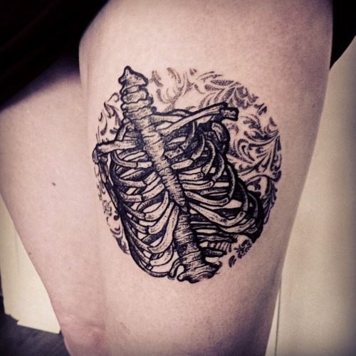 fuckyeahtattoos:  Just after it was done, 2nd May 2013.Ribcage and florals on my thigh.Done at AKA in Dalston, London, UK by Hannah Pixie Snowdon (http://black-stabbath.tumblr.com/)So detailed and even better than I imagined. In love with it!!!  ♥ ♥ ♥ ♥