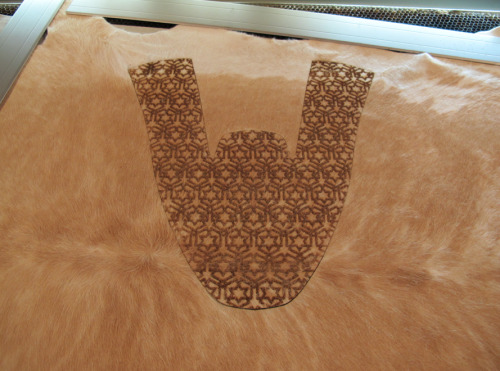 cutlasercut:  Laser engraved fur…looks good, smells horrible!  I bet, leather is bad enough by itself!