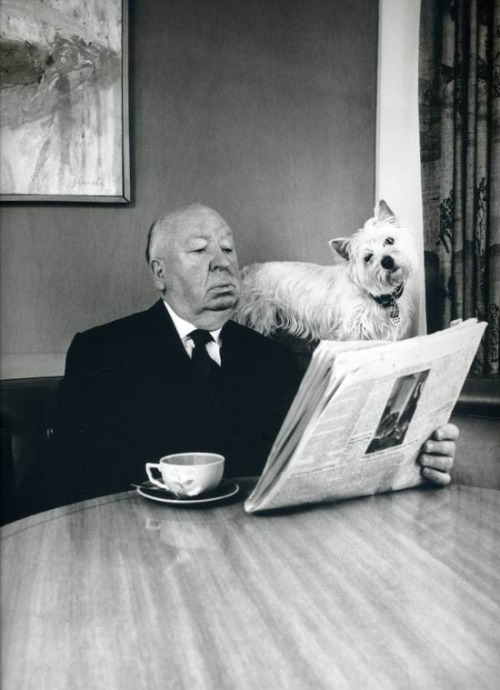 superseventies:  Alfred Hitchcock and his Sealyham Terrier photographed by Philippe Halsman, 1974.