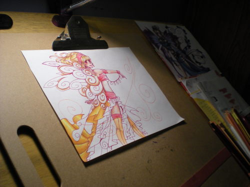 Late night WIP, of a coloring pencil drawing and my art desk.