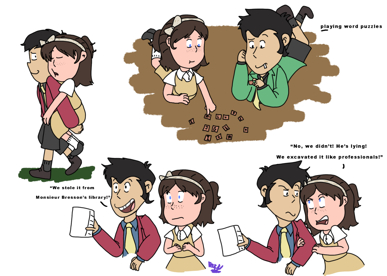 Doodles of the kiddos I did for @jesserioo / @jils-stuff and my childhood friend au!!I had a lot of fun drawing these two. [click for better quality] #old friends au  #lupin the third #Lupin III #lupin the 3rd #Arsène Lupin#laetitia#laetitia bresson#Peggy's art #lupin iii the first