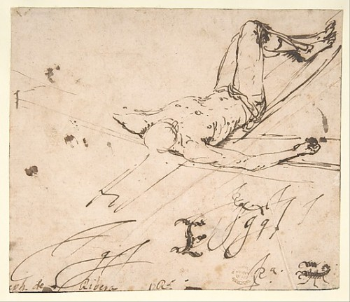 Jusepe de Ribera (Lo Spagnoletto) Study for a Crucifixion of St. Peter Pen and brown ink on off-white paper 1591-1652 5-11/16 x 6-5/8 in. (14.4 x 16.8 cm)