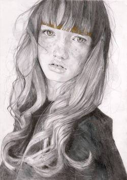 adrienpatout:   Amberley,2013,pencil, gold and binaural beats,A4 size.  This piece is for sale at 400 USD on Saatchi => http://www.saatchionline.com/art/Drawing-Pencil-Amberley/294085/1617289/view