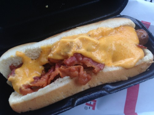 Bacon Cheese hotdog! So unhealthy but totally worth it!