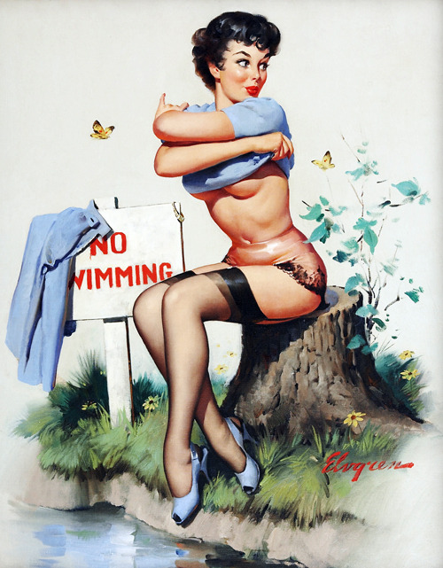 "vintagegal:  ""Taking a Chance"" (No Bikini Atoll) by Gil Elvgren, 1962"