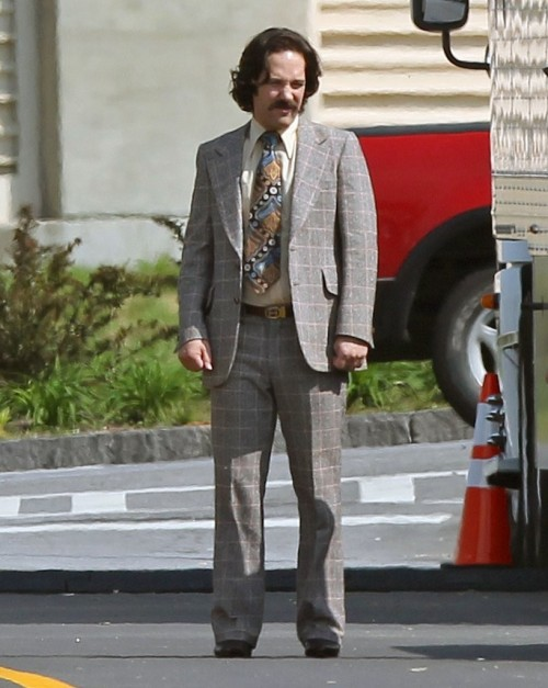 Paul Rudd on the set of Anchorman 2