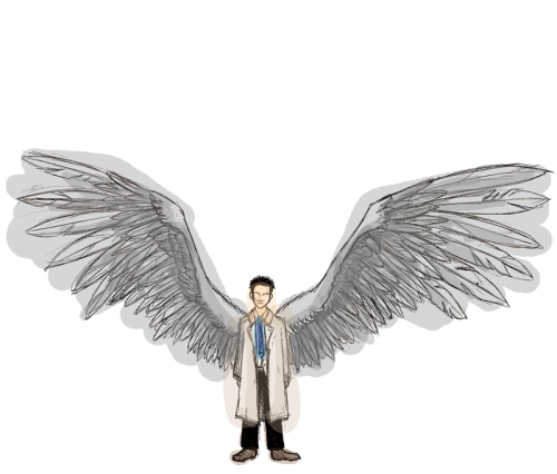 - Oh, you mean like an angel on your shoulder?- No, no. His name is Castiel, he wears a trenchcoat.  Alright, I can't stop drawing Cas… It was supposed to be coloured properly but I thought it looked cool like this.
