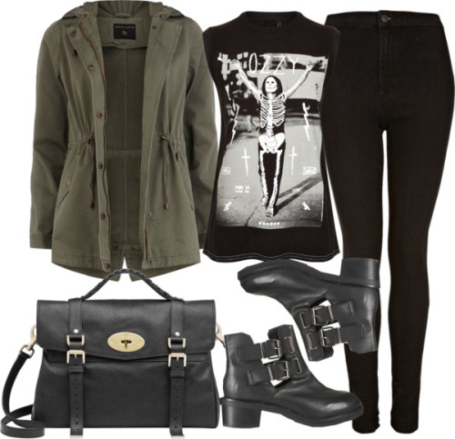 Untitled #1645 by ieleanorcalderstyle featuring a black satchel handbag  And Finally cotton tank top / Dorothy Perkins cotton jacket / Topshop tall skinny jeans / Topshop  boots / Mulberry black satchel handbag