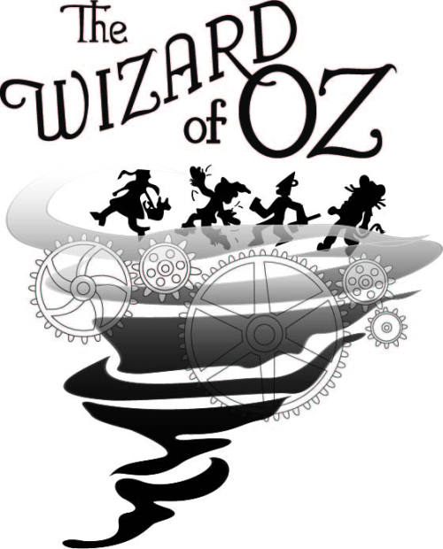 "Logo for a high school drama performance. They're putting a ""steam punk"" twist on it and wanted that evidenced, but not so much as to be confusing."