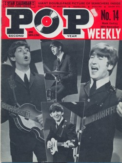 theswinginsixties:  The Beatles on the cover of Pop Weekly, November 1963.