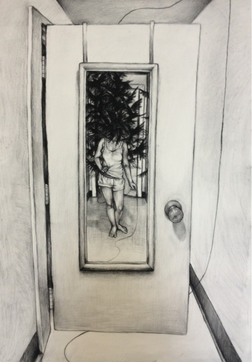 My life drawing final - charcoal on paper