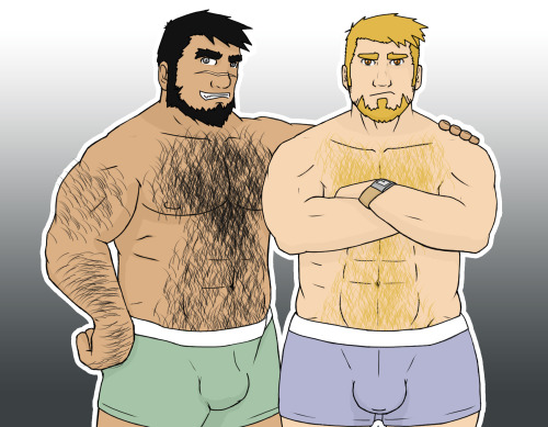 boarnoise:Hi guys! I wish everybody is having a good night :D (or whatever time is it there)Here is Mick Wolf and John County, bara-detectives' OC :DMay the bara be with u boys! #boarnooise#thegreentiger#Bara#John County#Mick Wolf#NSFW#Bara-Detectives#Beard#Hairy#bears#OCs