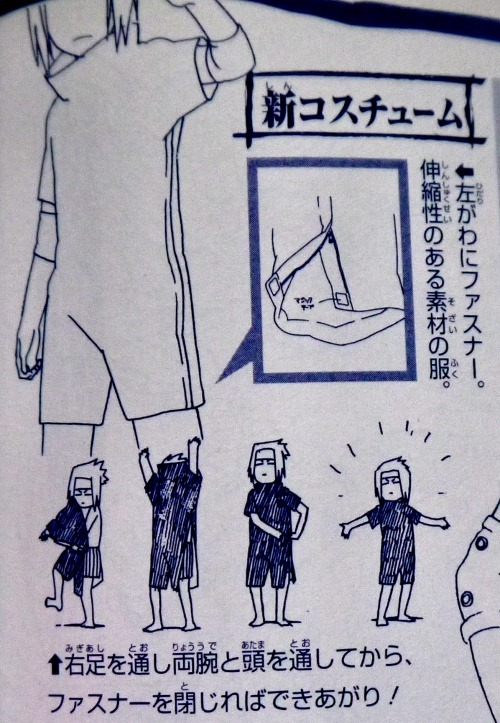 kosmonauttihai:  How Sasuke puts on his Chuunin Exam finale outfit, a scientific illustration. From the second Naruto Anime Profiles book.