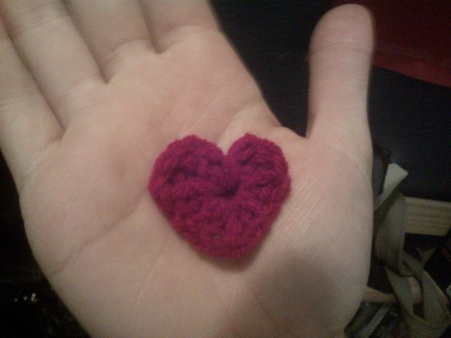 crochet valentines day made with love