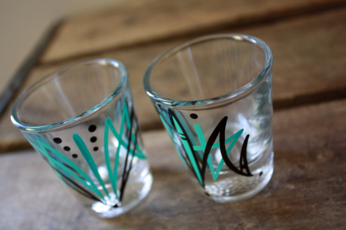 Pinstriped some shot glasses this weekend to put in my Etsy store (over here!) when I wasn't busy laying down a new stone walkway. Now I'm gonna go be useless for the rest of the night, if you don't mind.