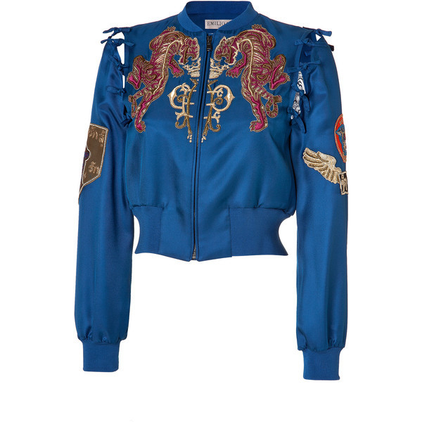 Embroidered Silk Bomber Jacket in Ocean Blue by EMILIO PUCCI | Luxury fashion online | STYLEBOP.com   (clipped to polyvore.com)
