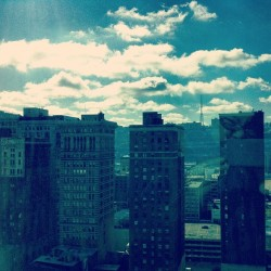 View from our room - the sun peeking through the clouds #pittsburgh  (at Fairmont Pittsburgh Hotel)