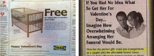 The Best  & Worst Valentine's Day Ads Now that's some forward thinking.