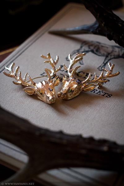 vanyanis:  Renly Stag Collar Brooches available here. These striking stag collar brooches are simply wonderful. They are sold as a pair and are designed to be worn pinned onto your shirt or jacket collar, but you could wear them any way you please. Whether you're a Baratheon at heart, or just love this style they're the perfect addition to any outfit!Photo by Deerstalker Pictures.