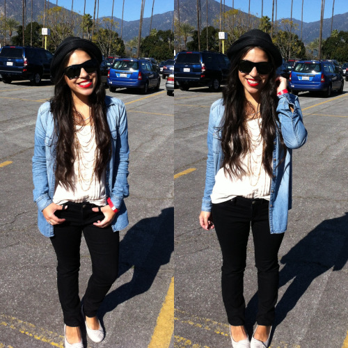 A day at the horseraces \ OOTD022413 ft: jessica simpson skinnies / consigned flats, denim & blouse / forever XXI necklace & fedora