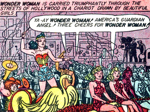 superdames:  sirkowski:  superdames:  Three cheers — it's Wonder Woman Weekend again! —Sensation Comics #12 (1942) by William Moulton Marston & H.G. Peter  PROBLEMATIC!  Wait, is she whipping those girls??!