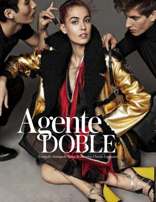 billidollarbaby:  Nadja Bender for Vogue Spain September 2014 in Agente Doble