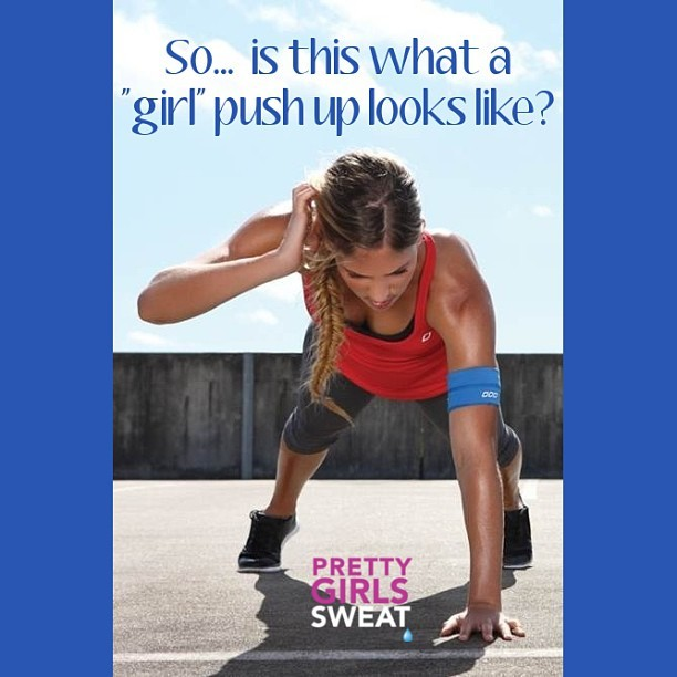 "Girls can build the strength to do ANY kind of push up. Let's drop the term ""girl push ups"" to describe the beginner / modified version of this strengthening fitness move. #PrettyGirlsSweat #PGS #Sweatspiration #Fitspiration #fit #motivation #WeightLoss #CleanEating #healthy #body #Health #Fitspo #Sweatspo #Sweat #Exercise #Workout #Fitness #Fitspired"