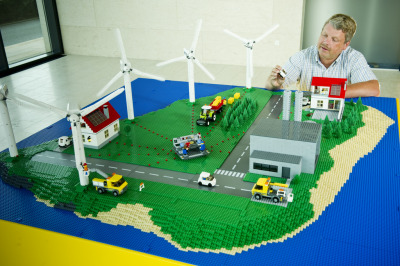 Lego model of the EcoGrid EU project on the island of Bornholm, Denmark. EcoGrid EU is a collaborative consortium to help develop an energy grid that uses at least 50 percent of renewable energy sources, such as wind power, solar energy and biogas.