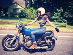 motolady:  Lana (who does photography and runs the Women's Moto Exhibit) and I went out today to shoot some photos for giveaways (keep an eye out). I snapped this one of her on the XS400 with my phone on the ride back to home base. [ more photos tagged Lanakila MacNaughton ]