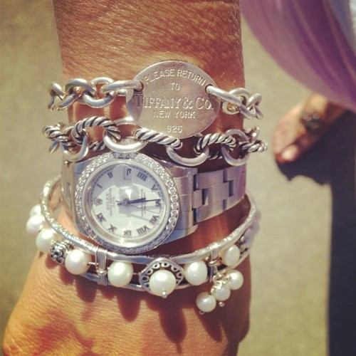 A little arm candy….. #rolex #davidyurman #tiffany&co #silpada #silver #bracelets #watch #diamonds