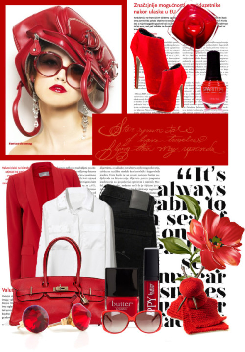 The Girl With The Red Bag by queenrachietemplateaddict featuring a white blouseWhite blouse / Wallis red tux jacket / Nobody Denim skinny jeans, $145 / Promise Shoes high heel boots / BonBon Boutique swarovski crystal jewelry, $17 / Gucci  sunglasses, $365 / Butter London  / SpaRitual  nail polish