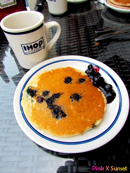 IHOP @ JBR, Dubai, UAE Fluffy blueberry pancakes with bluebarry jam