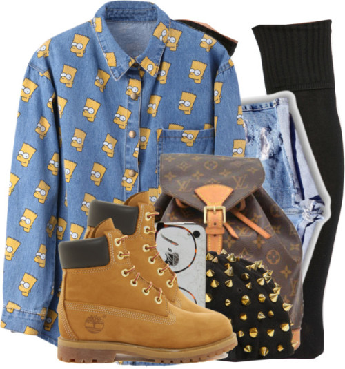 keep it trill. by i-am-a-fashionista-duh featuring retro shirts ❤ liked on PolyvoreRetro shirt / Thigh high socks / High waisted shorts / Timberland leather boots, $205 / Louis Vuitton zipper bag, $1,375 / Snapback hat / ASOS retro eyeglass