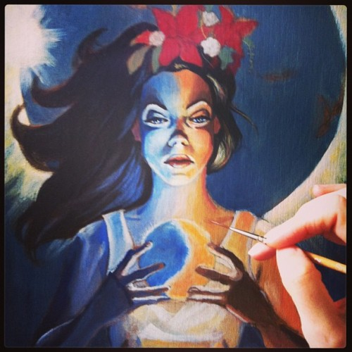 Work in progress for fast approaching tarot show. :) #wip #acrylic #art #painting #progress #temperance #tarot