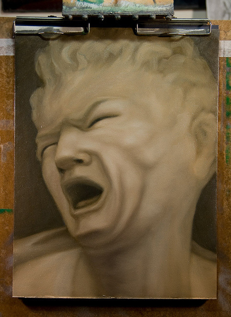 WIP After Balthasar Permoser. Bust of Marsyas on Flickr.Struggling with this piece