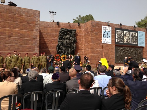 U.S. Secretary of State John Kerry lays a wreath at Yad Vashem during a ceremony in Jerusalem for Israel's Holocaust Remembrance Day, April 8, 2013. [State Department photo/ Public Domain]