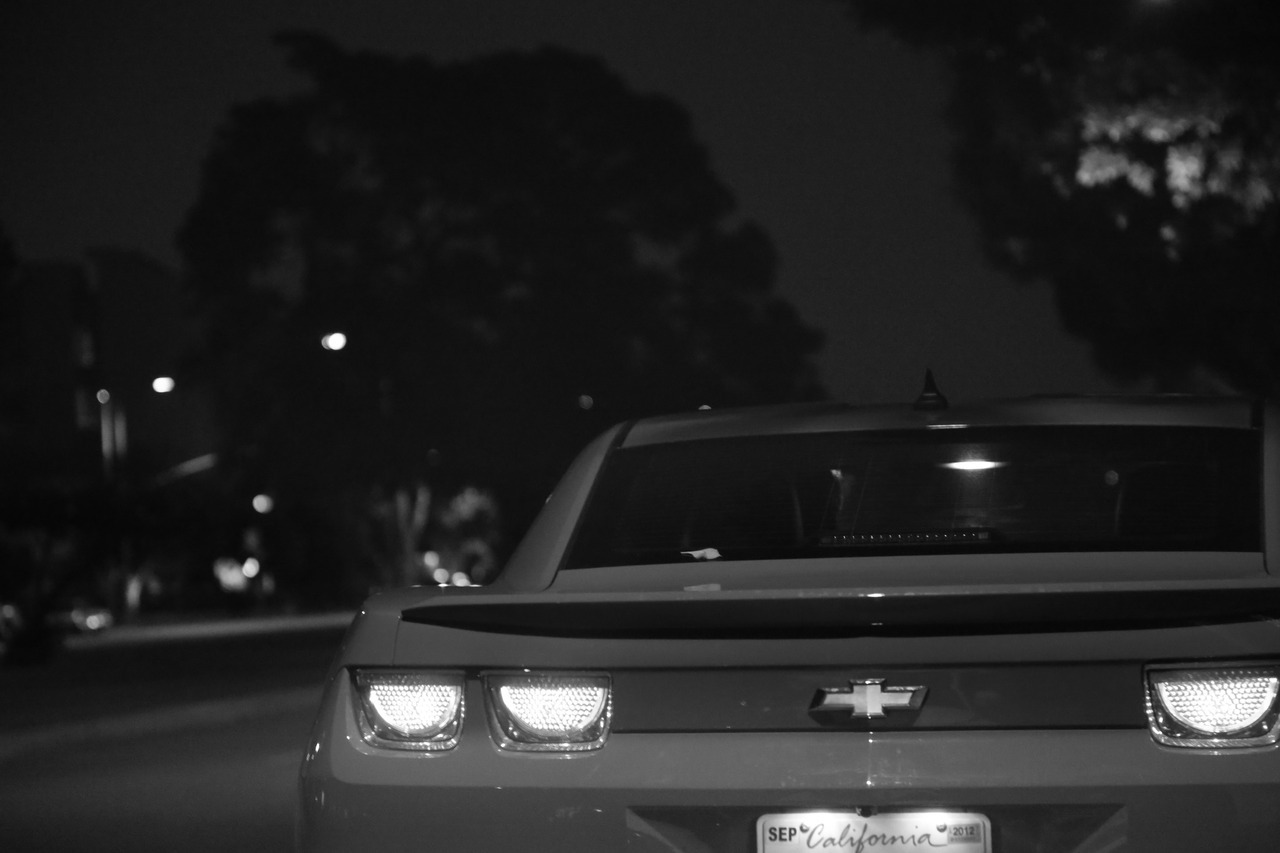 Back of a beautiful camaro. Black and White Picture, license plate from california! David Hanjani