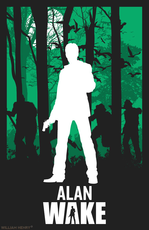 Alan Wake variant poster by William Henry  Prints available on Etsy at https://www.etsy.com/listing/126719954/alan-wake-variant-poster Couldn't decide if I liked the green or red version better, so I decided to go with both. It also allows me to make use of Alan from the original game and Alan from American Nightmare. ——— View my portfolio at http://www.williamhenrydesign.com. Please get in touch. I would love to work together on a project. You can also follow me on Twitter at http://www.twitter.com/billpyle and on Facebook at http://www.facebook.com/williamhenrydesign.