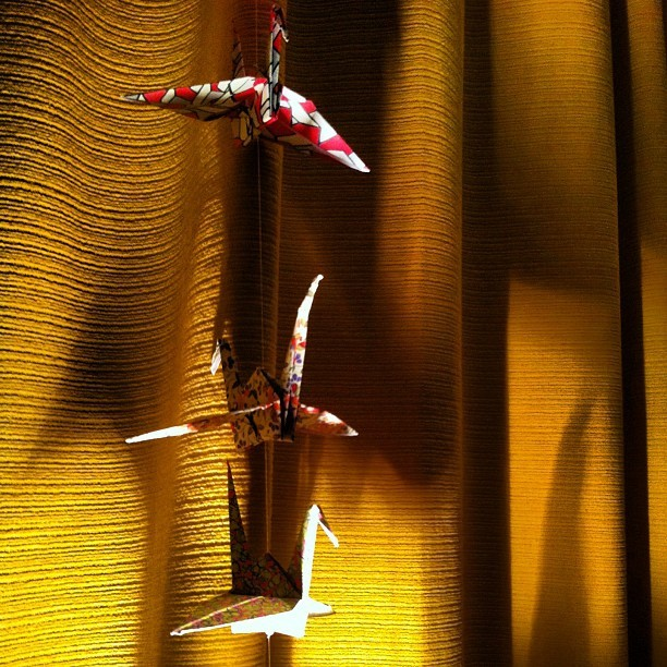 #origami cranes and shadows