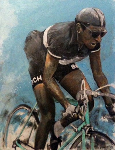 Fausto Coppi and cycling-related art; two themes always good to see in the same subject. Grateful to Velorunner for the intro to Stefan Bumbeck
