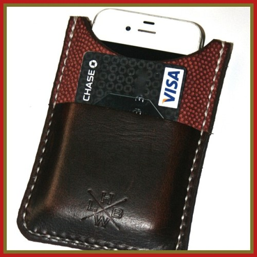 iPhone Cases made from genuine football leather. Available for iPhone 4 & iPhone 5 at www.petalumasupplyco.com