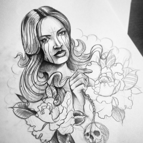 Sketch for newsleeve #tattoo #chickie #peonies #skull #dayofthedead