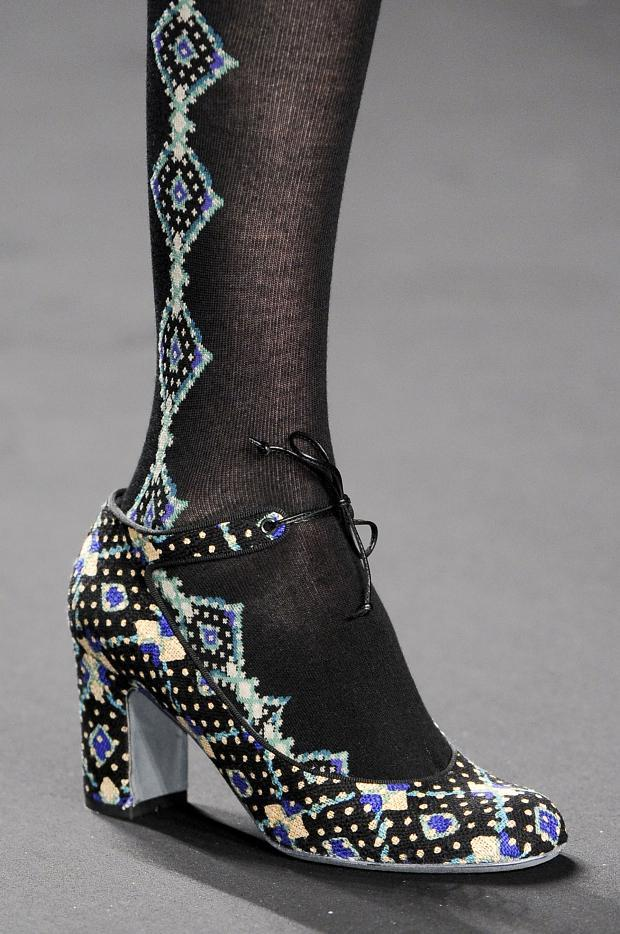 Black tights with diamond shaped multicolored details by Anna Sui - AW2013