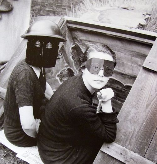 """Women with Fire masks"" 1941 by L.e.e M.i.l.l.e.r"