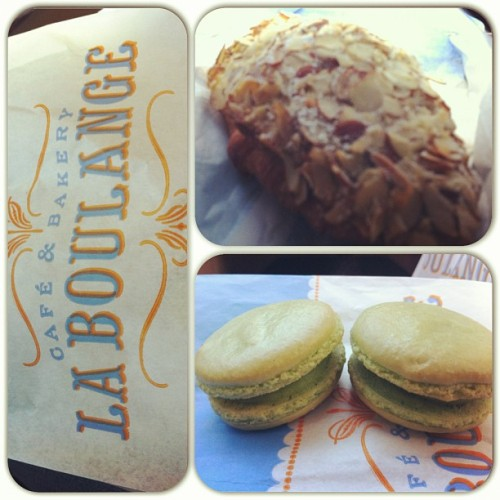 Pistachio macaroons and an almond croissant #laboulange