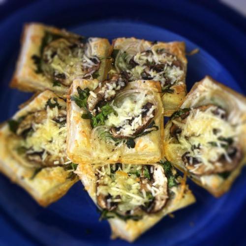 arugula, mushroom, shallot & parmesan puff pastry tarts