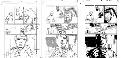Here's some page process. Layout - Pencils - Inks. My layouts are pretty much just squiggles for compositional purposes. I don't really do any details. Mostly just try to get a handle on scale and angle etc.
