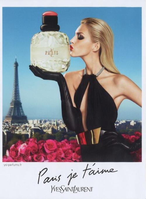 pretaportre:  mirnah: Supermodel Anja Rubik kissing the bottle for her new YLS Paris perfume campaign.