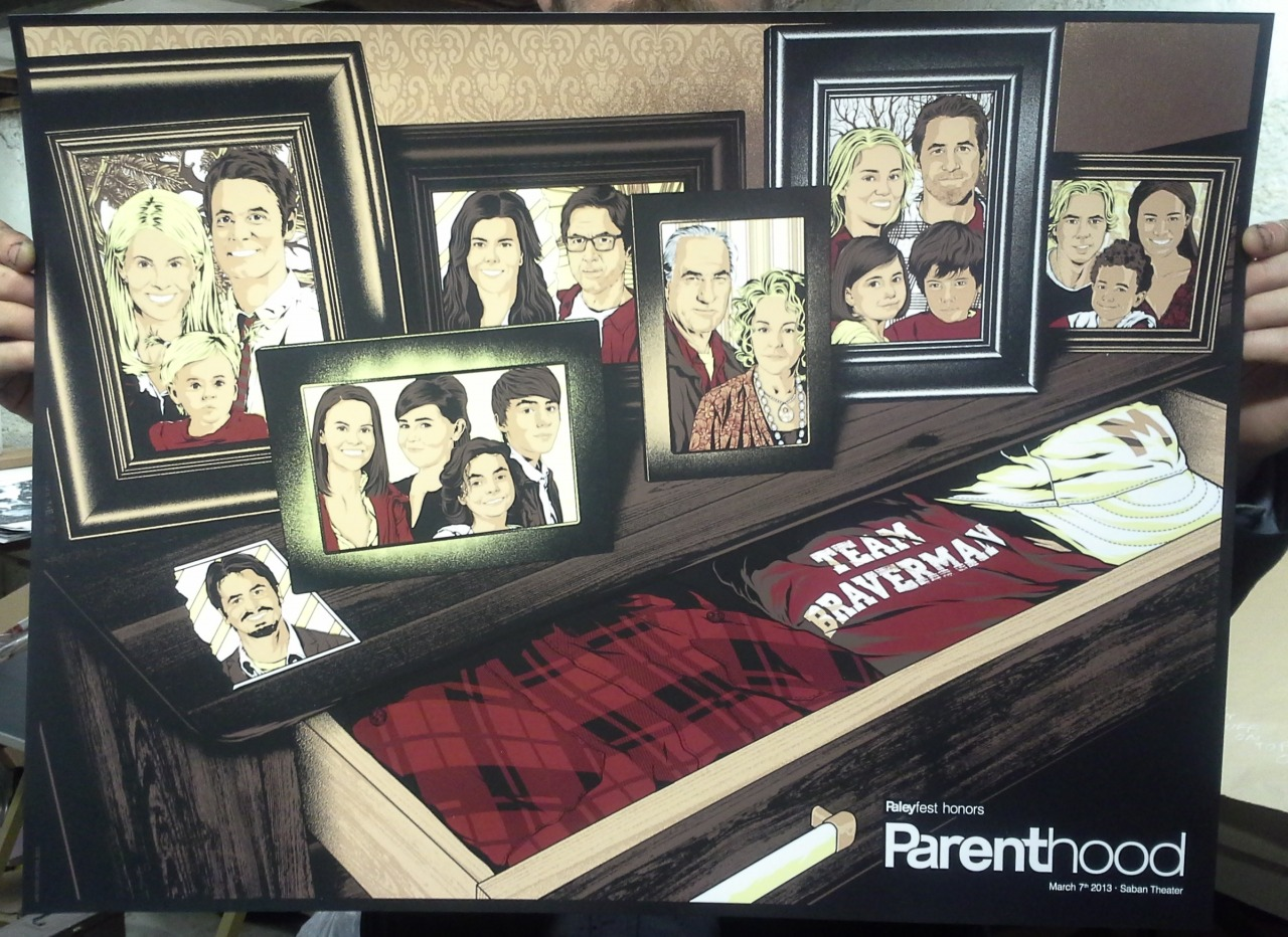"""PARENTHOOD"" BY ANTHONY PETRIE FOR GALLERY 1988 AND PALEYFEST HONORS 2013 6 COLORS 24"" X 18"" COUGAR 100LB. COVER IN WHITE BUY IT HERE - http://nineteeneightyeight.com/products/anthony-petrie-paleyfest-2013-honors-parenthood-print"